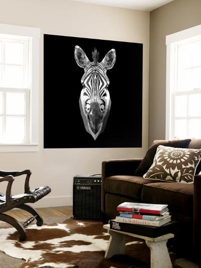 Black Zebra Head-NaxArt-Wall Mural