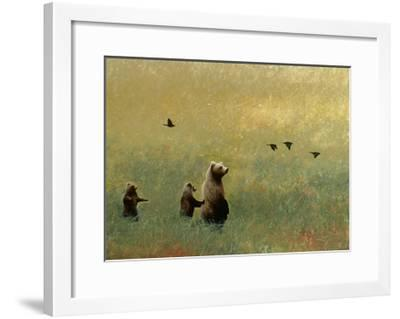 Blackbirds and Bear Family-Miguel Dominguez-Framed Premium Giclee Print