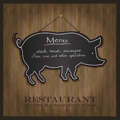 Blackboard Pig Restaurant Menu Card-Mondih-Art Print