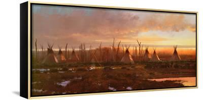 Blackfeet Camp-Michael Coleman-Framed Canvas Print