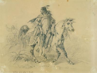 Blackfeet Warrior on Horseback, C.1833-43-Karl Bodmer-Giclee Print