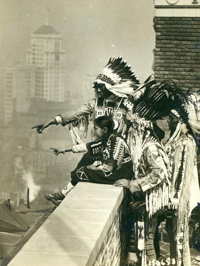 Blackfoot Indians on the Roof of the McAlpin Hotel, Refusing to Sleep in their Rooms, New York City-American Photographer-Photographic Print