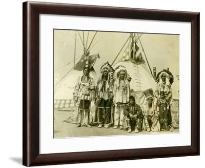 Blackfoot Indians on the Roof of the Mcalpin Hotel, Refusing to Sleep in their Rooms, New York City--Framed Photographic Print
