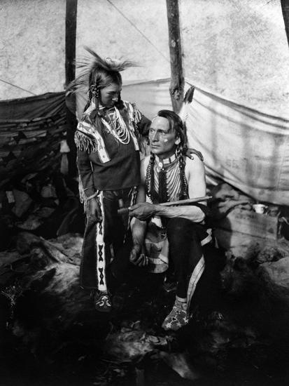 Blackfoot Man and Boy, c1914--Giclee Print