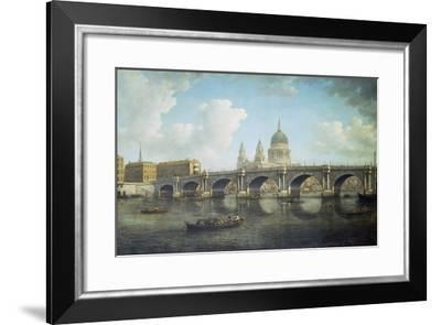 Blackfriars Bridge and St. Paul's Cathedral, about 1762-William Marlow-Framed Giclee Print