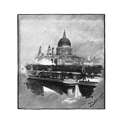 Blackfriars Bridge and St Paul's Cathedral, London--Giclee Print