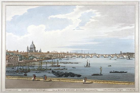 Blackfriars Bridge, London, 1795-Joseph Constantine Stadler-Giclee Print