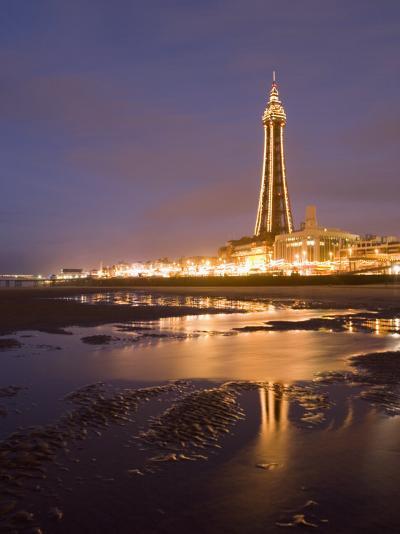 Blackpool Tower Reflected on Wet Beach at Dusk, Blackpool, Lancashire, England, United Kingdom-Martin Child-Photographic Print