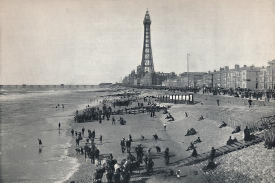 'Blackpool - View of the Front, Showing the Tower', 1895-Unknown-Photographic Print