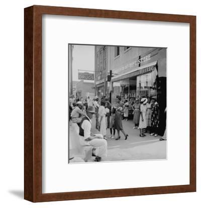 Blacks Shopping on Main Street-Dorothea Lange-Framed Art Print