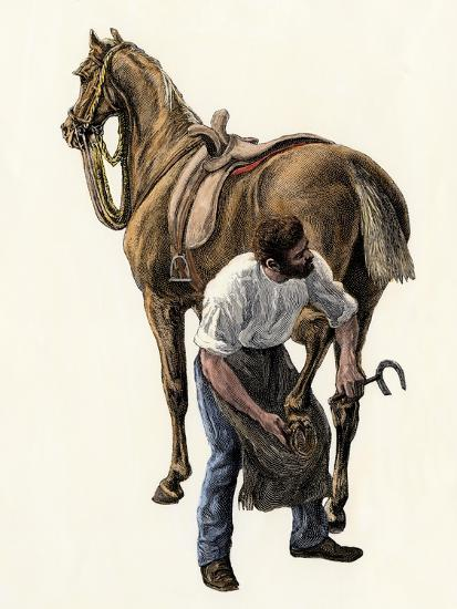 Blacksmith Fitting a Horseshoe, 1800s--Giclee Print