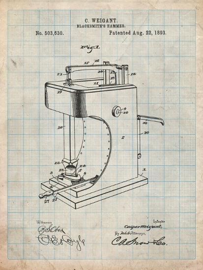 Blacksmith Hammer 1893 Patent-Cole Borders-Art Print