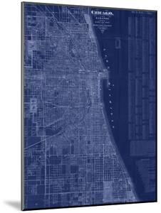 Antique Map of Chicago (blue) by Blanchard