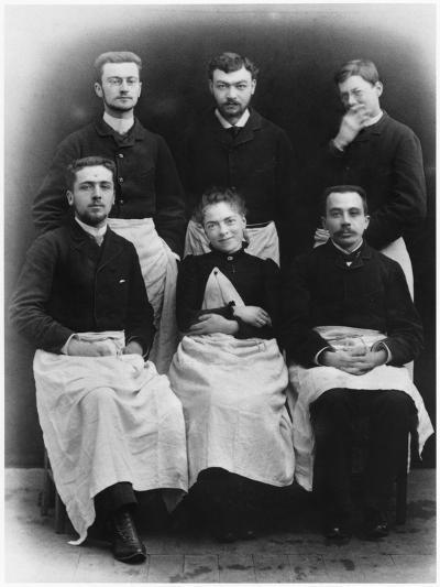 Blanche Edwards-Pilliet with Five House Interns at La Salpetriere Hospital, 1888--Photographic Print