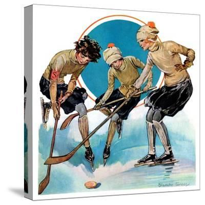 """Girls Playing Ice Hockey,""February 23, 1929"