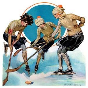 """""""Girls Playing Ice Hockey,""""February 23, 1929 by Blanche Greer"""