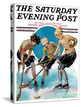 """Girls Playing Ice Hockey,"" Saturday Evening Post Cover, February 23, 1929"