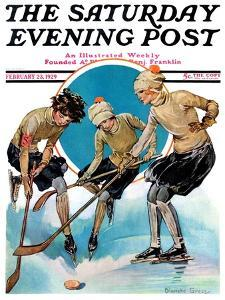 """""""Girls Playing Ice Hockey,"""" Saturday Evening Post Cover, February 23, 1929 by Blanche Greer"""