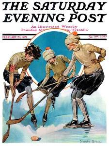 """Girls Playing Ice Hockey,"" Saturday Evening Post Cover, February 23, 1929 by Blanche Greer"