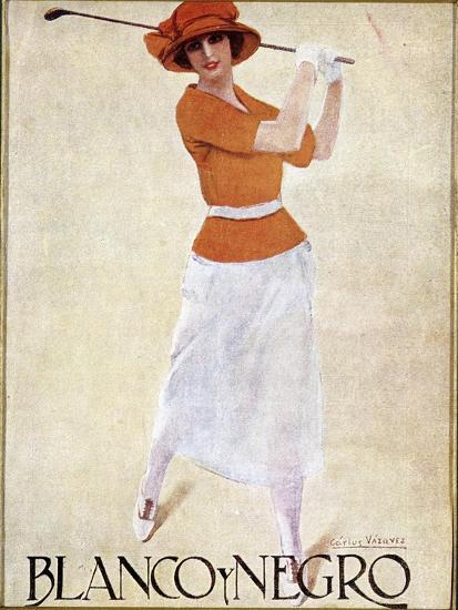 Blanco Y Negro poster with golfing theme, c1930s-Unknown-Giclee Print