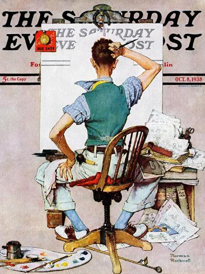 """""""Blank Canvas"""" Saturday Evening Post Cover, October 8,1938-Norman Rockwell-Giclee Print"""