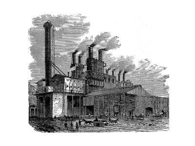 Blast Furnaces at the Phoenix Iron and Bridge Works, Phoenixville, Pennsylvania, USA, 1873--Giclee Print