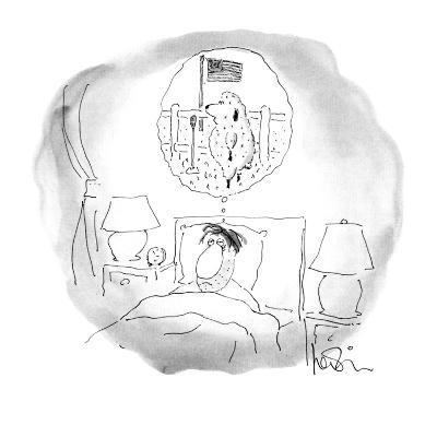 Bleary-eyed man lays in bed;the sheep he has been counting are staging a t? - New Yorker Cartoon-Arnie Levin-Premium Giclee Print
