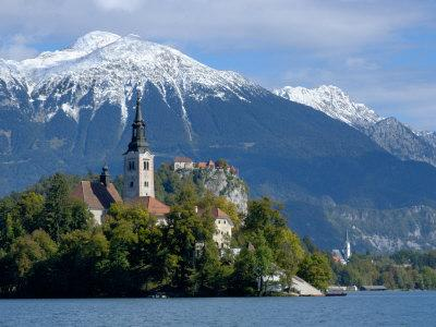 Bled Castle and Julian Alps, Lake Bled, Bled Island, Slovenia-Lisa S^ Engelbrecht-Photographic Print