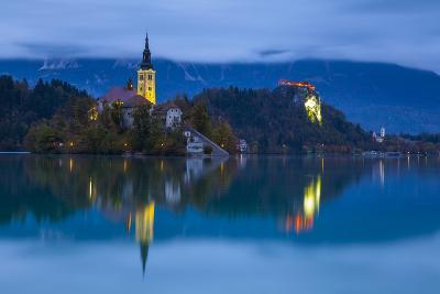 Bled Island with the Church of the Assumption and Bled Castle Illuminated at Dusk, Lake Bled-Doug Pearson-Photographic Print