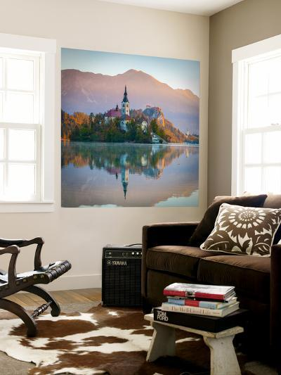 Bled Island with the Church of the Assumption and Bled Castle Illuminated at Dusk, Lake Bled-Doug Pearson-Wall Mural