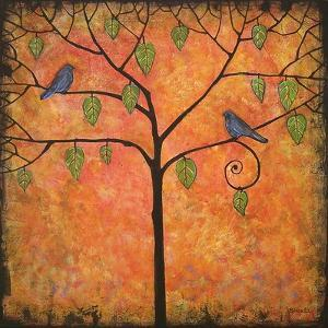 Art Print Tree of Life Tangerine Tango Sky by Blenda Tyvoll