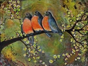 Birds Robins Family Portrait by Blenda Tyvoll