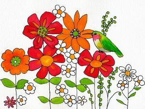 Floral & Hummingbird by Blenda Tyvoll