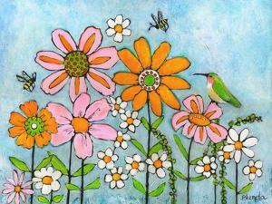 Hummingbird and Bees on Flowers by Blenda Tyvoll