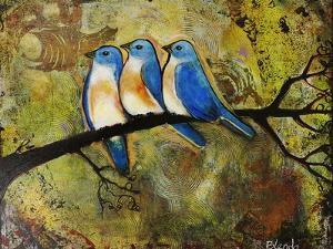 Print Art Bluebird Trio by Blenda Tyvoll