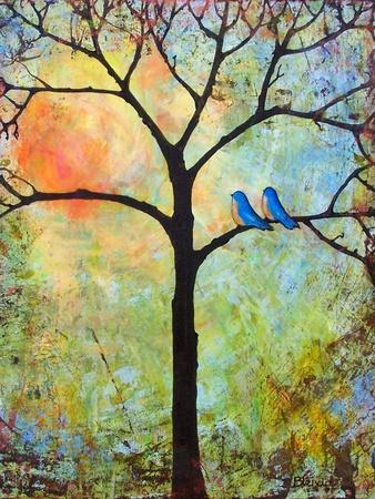 Tree Print Art Birds Sunshine Bluebirds
