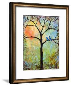 Tree Print Art Birds Sunshine Bluebirds by Blenda Tyvoll