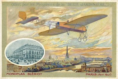 Bleriot Monoplane and a View of Paris Showing the Pont Neuf--Giclee Print