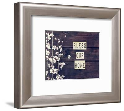 Bless Our Home Flowers on Wood Background-Color Me Happy-Framed Art Print