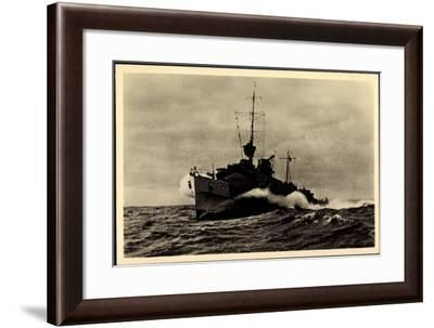 Blick Auf Torpedoboot in Voller Fahrt, Meer, Wellen--Framed Giclee Print