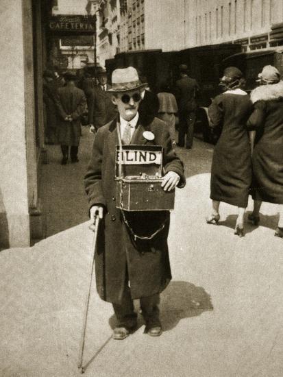 Blind Man Begging, New York, 1933--Photographic Print