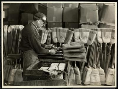Blind Man Labeling Brooms at the Bourne Memorial Building, New York, 1935-Byron Company-Giclee Print