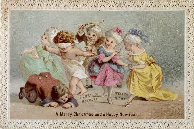 Blind Man's Buff, Victorian Christmas and New Year Card--Giclee Print