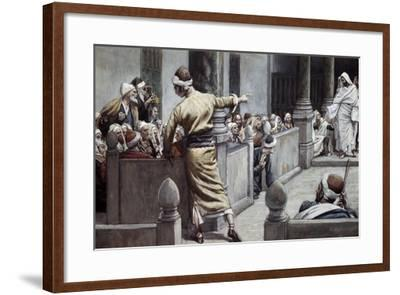 Blind Man Tells His Story to the Jews-James Jacques Joseph Tissot-Framed Giclee Print