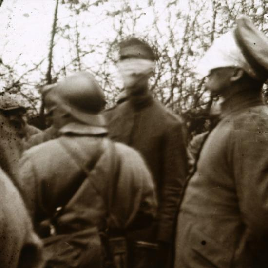 Blindfolded soldiers, November 1918-Unknown-Photographic Print
