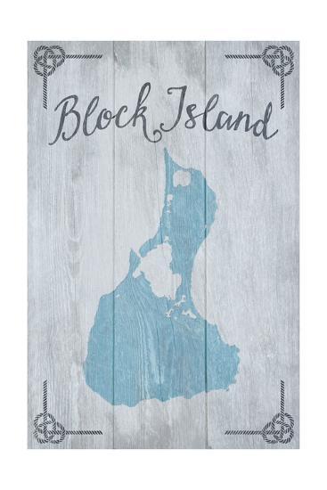 Block Island, Rhode Island - Distressed Sign-Lantern Press-Art Print