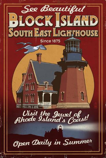 Block Island, Rhode Island - Lighthouse Vintage Sign-Lantern Press-Art Print