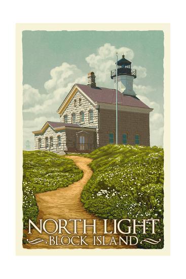 Block Island, Rhode Island - North Light-Lantern Press-Art Print