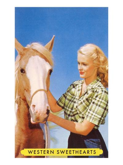 Blonde Cowgirl with Palomino--Art Print
