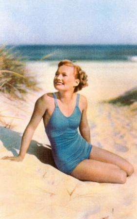 Blonde in Blue One-Piece in Dunes